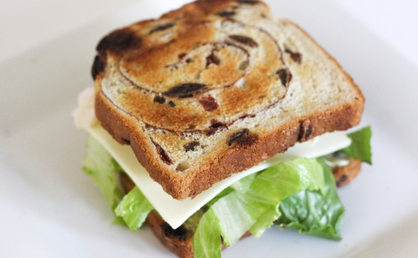 Low Calorie Cinnamon Raisin Turkey Sandwich